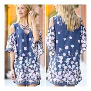 MY STORY CINDY Navy Floral Cold Shoulder Dress